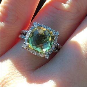David Yurman Ring with Peridot/Diamonds